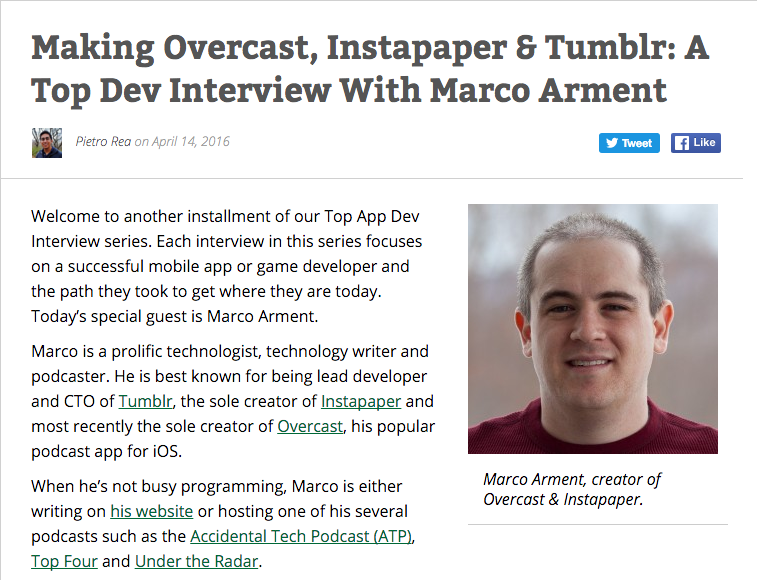 Marco Armet Instapaper and Overcast