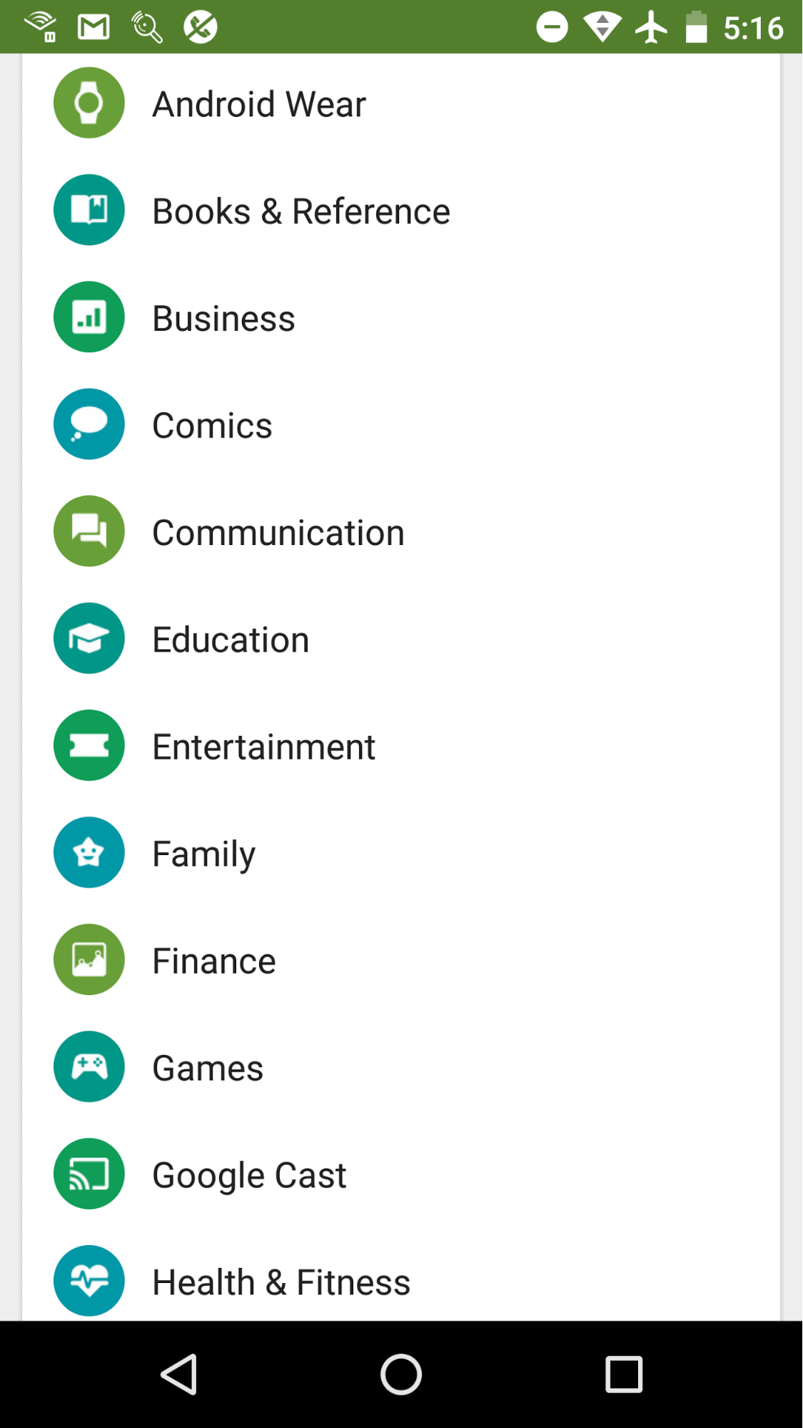 Top Level Categories Google Play