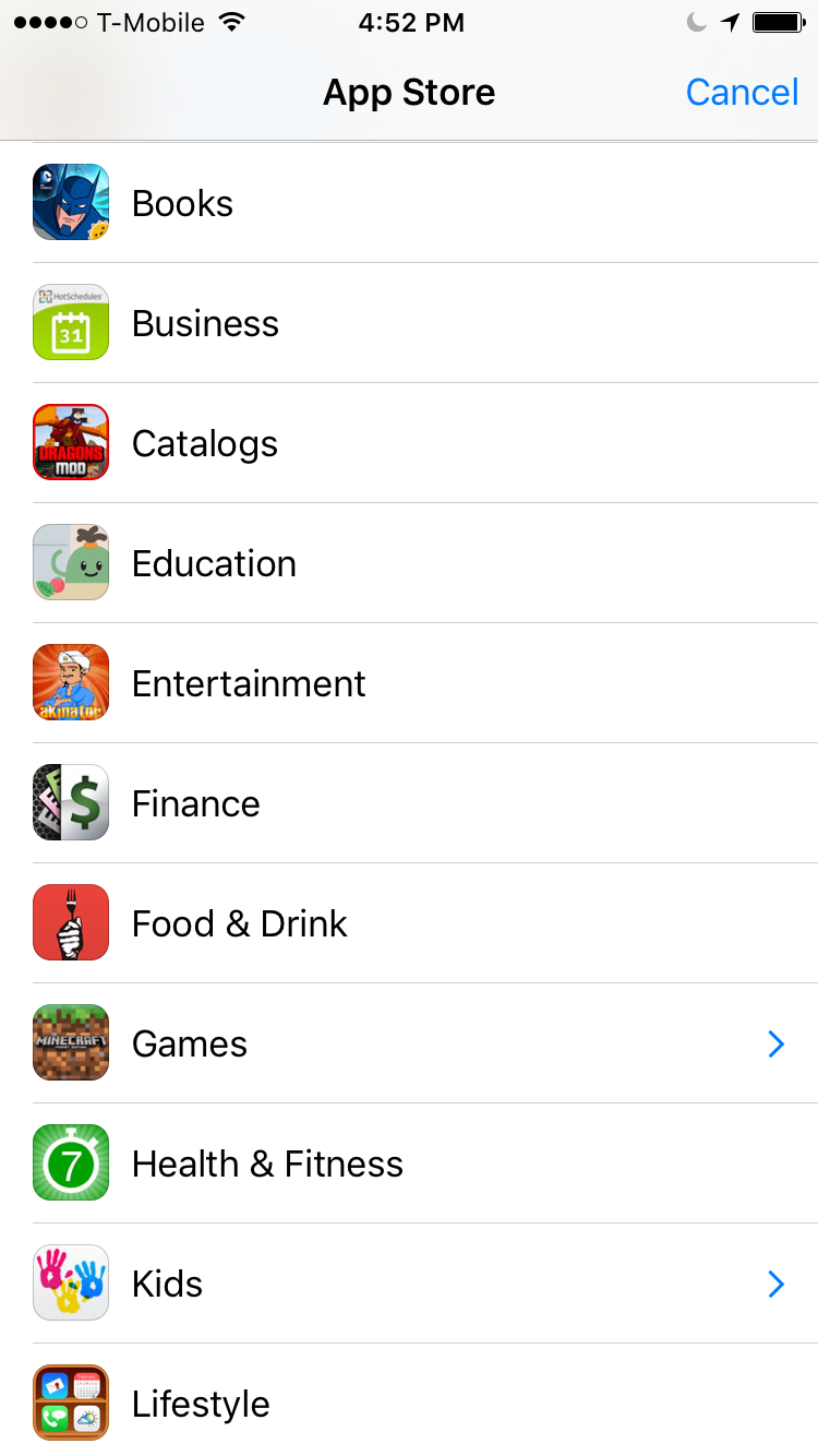 Top Level Categories iOS App Store