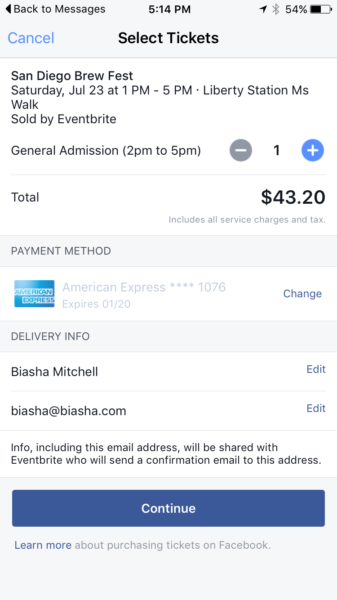 Facebook Event Ticket Intergration