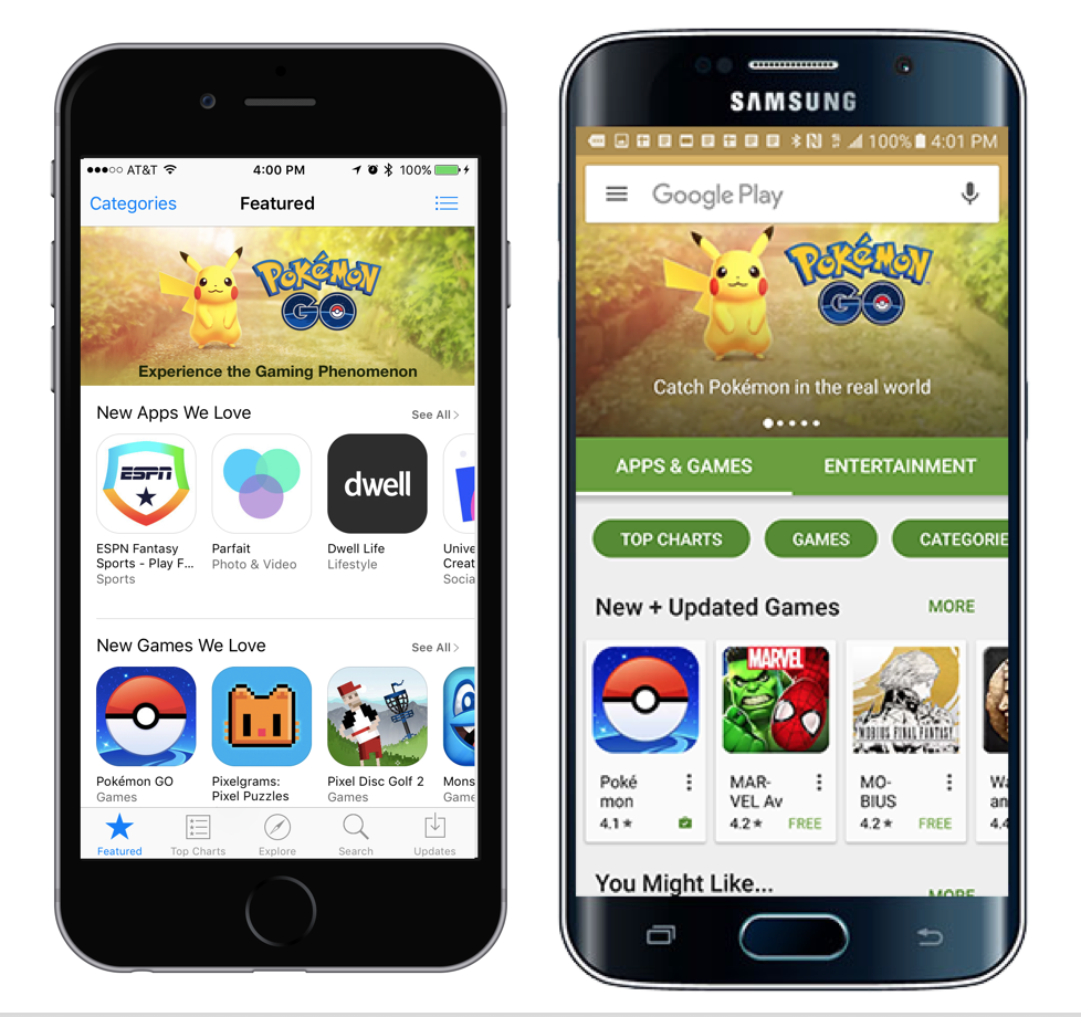 Pokemon GO featured iOS Google Play App Store