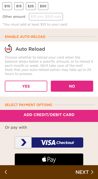 Dunkin Donuts Apple Pay