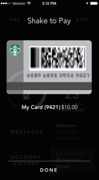 Shake to Pay Starbucks