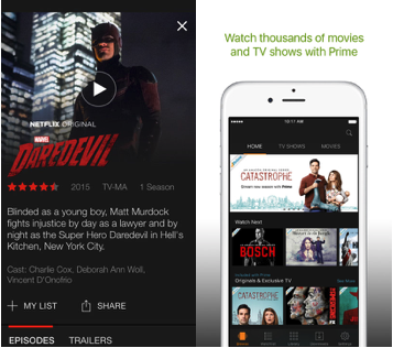 Netflix and Amazon Video App Store Screenshots