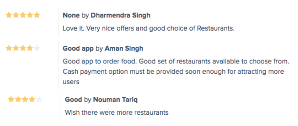Food Delivery App Customer Reviews