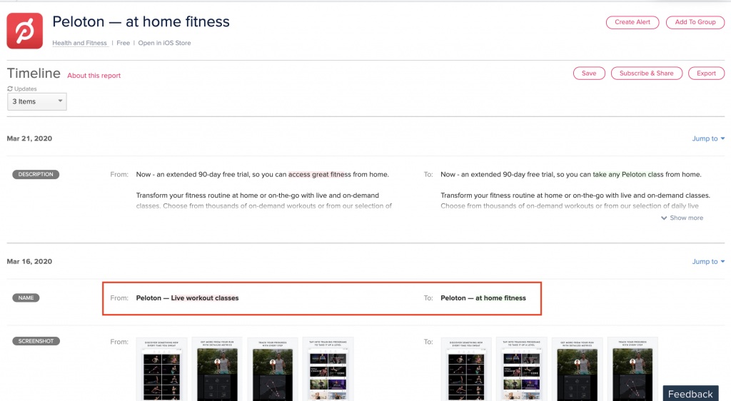 peloton at home fitness app store optimization ASO update